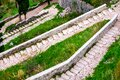 Kotor fortress walls, Montenegro with old steps and green trees Royalty Free Stock Photo