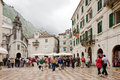 Kotor main square montenegro may surrounded with old traditional houses and people walking on stone on may in Stock Images