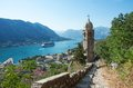 Kotor montenegro bay and fjord landscape with cruise ship Stock Photos