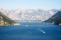 Kotor montenegro bay and fjord landscape with cruise ship Stock Images
