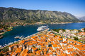 Kotor old city top view from lovcen mountain Stock Images