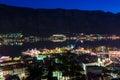 Kotor yacht harbor at night Royalty Free Stock Photo