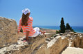 Kourion in cyprus girl among ancient ruines of Stock Photos