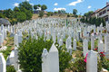 Kovaci cemetery sarajevo bosnia and herzegovina aug people on martyr s memorial on august in sarajevo b h one of many cemeteries Royalty Free Stock Photography