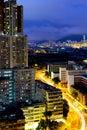 Kowloon city at night in hong kong Royalty Free Stock Photo