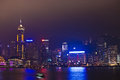 Kowloon hongkong january view hong kong harbor laser show to skyline victoria night january kowloon hongkong Stock Photo