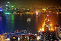 Kowloon at night panorama of island hong kong Stock Photos