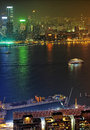 Kowloon at night panorama of island hong kong Stock Photo
