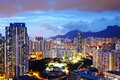 Kowloon side in hong kong at night with lion rock Royalty Free Stock Photos