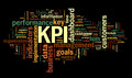 Kpi key performance indicators in word tag cloud on black background Stock Photography