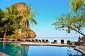 KRABI, THAILAND - MARCH 21: Sunshine view from resort pool on Railay Beach March 21, 2015 Krabi