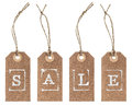 Kraft paper tag with string. SALE concept Royalty Free Stock Photo