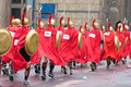 Krakow poland april cracovia marathon spartans children charity group speed on the city streets in Stock Photography
