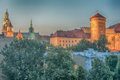 Krakow poland wawel castle in in the sunset Royalty Free Stock Photography