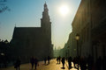 Krakow street crowded and st andrew s church in the sunshine day kraków Stock Images