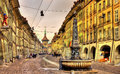 Kramgasse street in the Old City of Bern - UNESCO site Royalty Free Stock Photo