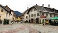 Kranjska gora little city in slovenian alps Stock Photos