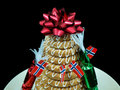 Kransekake an old traditional norwegian and danish wreath cake Stock Images