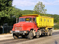 Kraz krasnodar krai russia august red and yellow dump truck at the interurban road Royalty Free Stock Image