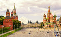Kremlin and Cathedral of St. Basil at the Red Square in Moscow Royalty Free Stock Photo