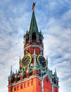 Kremlin clock of the Spasskaya Tower. Moscow Stock Images