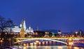 Kremlin embankment bolshoy kamenny bridge morning blue hour winter shot wall grand palace Stock Photo