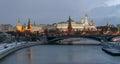 Kremlin embankment bolshoy kamenny bridge morning blue hour winter shot wall grand palace stunning panoramic view Stock Photos