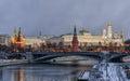Kremlin embankment morning blue hour winter shot wall grand palace bolshoy kamenny bridge moscow russia Royalty Free Stock Image