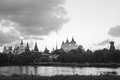 Kremlin and the mill near the river bank black and white Royalty Free Stock Photo