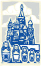 Kremlin with nested dolls woodcut style soviet design type illustration of the in moscow Stock Photo