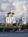 Kremlin of Pskov on the river Royalty Free Stock Images
