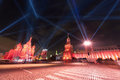 Kremlin st basils cathedral red square moscow red ligth projectors Royalty Free Stock Image
