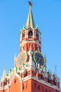 Kremlin tower with clock in moscow at dawn Royalty Free Stock Photos