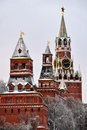 Kremlin Towers Covered Snow - Moscow Kremlin Royalty Free Stock Photo