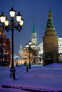 Kremlin towers in winter snowing evening, Moscow Royalty Free Stock Photography