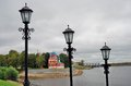 Kremlin in Uglich, Russia. Vintage style street lights. Royalty Free Stock Photo