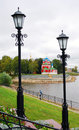 Kremlin in uglich view of the church of dimitry on blood and the volga river embankment vintage street lights Royalty Free Stock Image