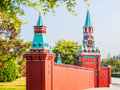 The kremlin wall and the clock tower of russia this photo was taken in window world scenic spot shenzhen city china it is Stock Photo