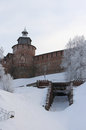Kremlin wall and tower chasovaya at nizhny novgorod in winter r russia Stock Photography