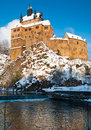 Kriebstein castle under snow in Saxony Stock Photography