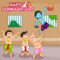 Krishna breaking dahi handi in Janmashtami
