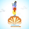 Krishna dancing on kaliya naag illustration of Royalty Free Stock Photo