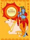 Krishna with flute on Happy Janmashtami background