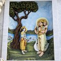 Krishna lila march vrindavan uttar pradesh india image describes the holy pastimes of lord or on the wall of prem mandir Royalty Free Stock Photo