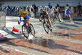 Kristin Armstrong Leads at Saint Paul Criterium Stock Images