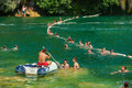 Krka national park croatia jul tourists swimming in a river and boat paddling on july on one of most Stock Image