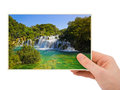 Krka waterfall croatia photography in hand isolated on white background Royalty Free Stock Photo