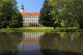 Kromeriz chateau archbishop s of reflecting in water czech republic Royalty Free Stock Image