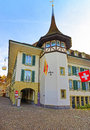 Krone hotel and flags in town hall square of thun the is a city swiss canton bern where aare river flows out lake Stock Images