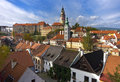 Krumlov. The roofs of the old town. Royalty Free Stock Images